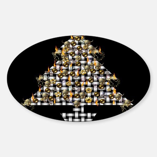 Metal Weave Skulls Tree Sticker (Oval)