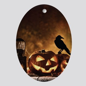 Halloween Pumpkins And A Crow Oval Ornament