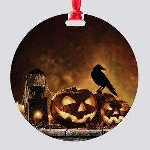 Halloween Pumpkins And A Crow Round Ornament