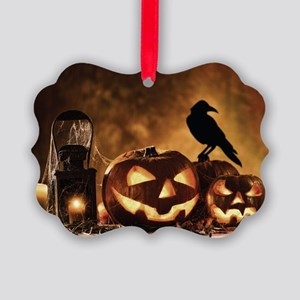 Halloween Pumpkins And A Crow Picture Ornament