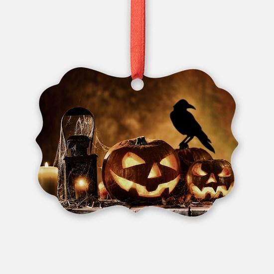 Halloween Pumpkins And A Crow Ornament