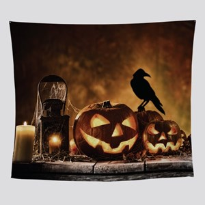 Halloween Pumpkins And A Crow Wall Tapestry
