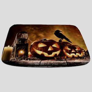 Halloween Pumpkins And A Crow Bathmat