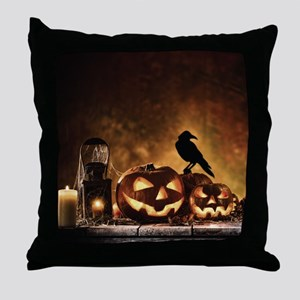 Halloween Pumpkins And A Crow Throw Pillow