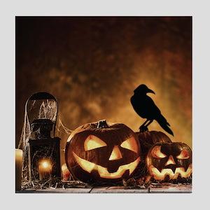 Halloween Pumpkins And A Crow Tile Coaster