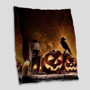 Halloween Pumpkins And A Crow Burlap Throw Pillow