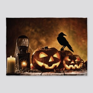 Halloween Pumpkins And A Crow 5'x7'Area Rug