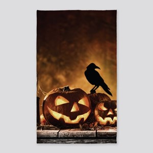 Halloween Pumpkins And A Crow Area Rug