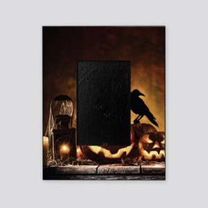 Halloween Pumpkins And A Crow Picture Frame