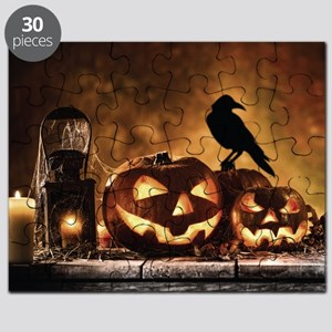 Halloween Pumpkins And A Crow Puzzle