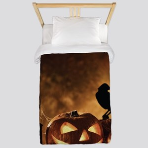 Halloween Pumpkins And A Crow Twin Duvet Cover