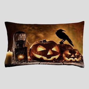 Halloween Pumpkins And A Crow Pillow Case