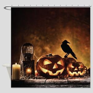 Halloween Pumpkins And A Crow Shower Curtain