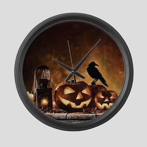 Halloween Pumpkins And A Crow Large Wall Clock