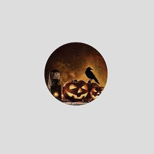 Halloween Pumpkins And A Crow Mini Button