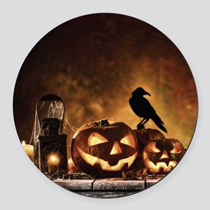 Halloween Pumpkins And A Crow Round Car Magnet