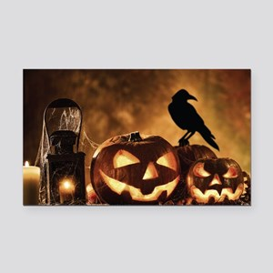 Halloween Pumpkins And A Crow Rectangle Car Magnet