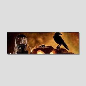 Halloween Pumpkins And A Crow Car Magnet 10 x 3