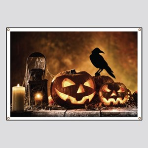 Halloween Pumpkins And A Crow Banner