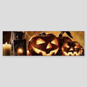 Halloween Pumpkins And A Crow Bumper Sticker