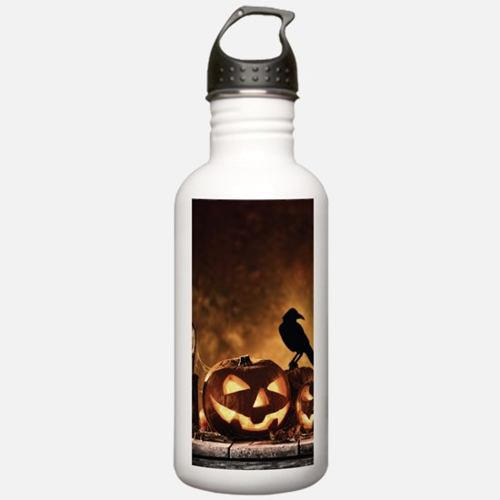 Halloween Pumpkins And A Crow Sports Water Bottle