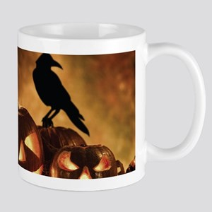 Halloween Pumpkins And A Crow Mugs