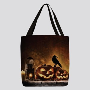 Halloween Pumpkins And A Crow Polyester Tote Bag