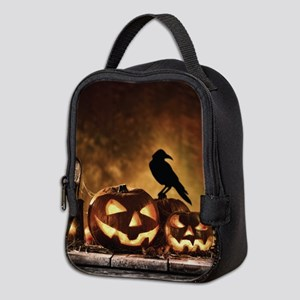Halloween Pumpkins And A Crow Neoprene Lunch Bag