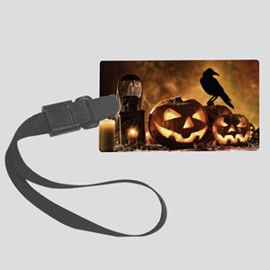 Halloween Pumpkins And A Crow Large Luggage Tag