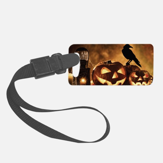 Halloween Pumpkins And A Crow Luggage Tag