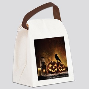 Halloween Pumpkins And A Crow Canvas Lunch Bag