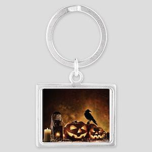Halloween Pumpkins And A Crow Keychains