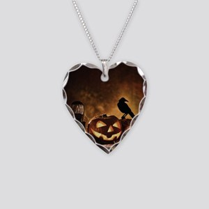 Halloween Pumpkins And A Crow Necklace Heart Charm