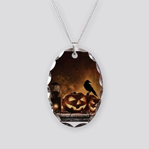 Halloween Pumpkins And A Crow Necklace Oval Charm
