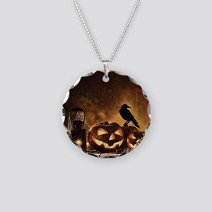 Halloween Pumpkins And A Crow Necklace Circle Char