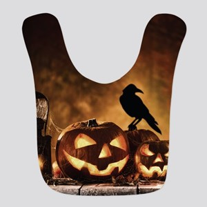 Halloween Pumpkins And A Crow Polyester Baby Bib