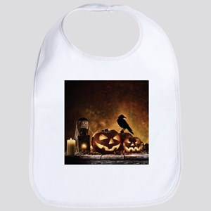 Halloween Pumpkins And A Crow Baby Bib