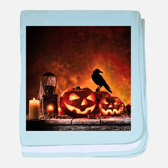 Halloween Pumpkins And A Crow baby blanket