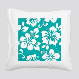 Turquoise Hawaiian Hibiscus Square Canvas Pillow
