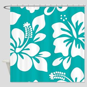 Turquoise Hawaiian Hibiscus Shower Curtain