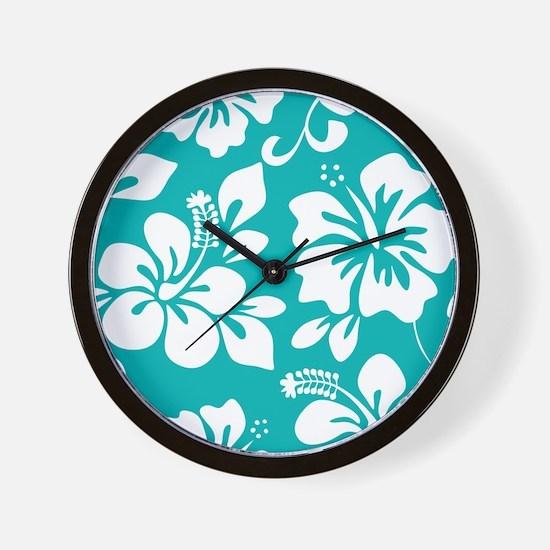 Turquoise Hawaiian Hibiscus Wall Clock