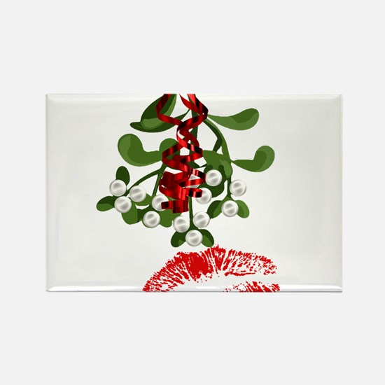 Mistletoe and Red Lipstick Kiss Print Magnets