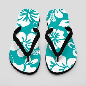 Turquoise Hawaiian Hibiscus Flip Flops