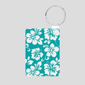 Turquoise Hawaiian Hibiscus Keychains