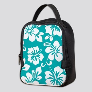 Turquoise Hawaiian Hibiscus Neoprene Lunch Bag