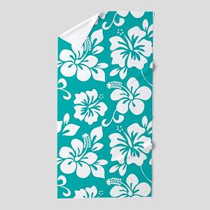 Turquoise Hawaiian Hibiscus Beach Towel