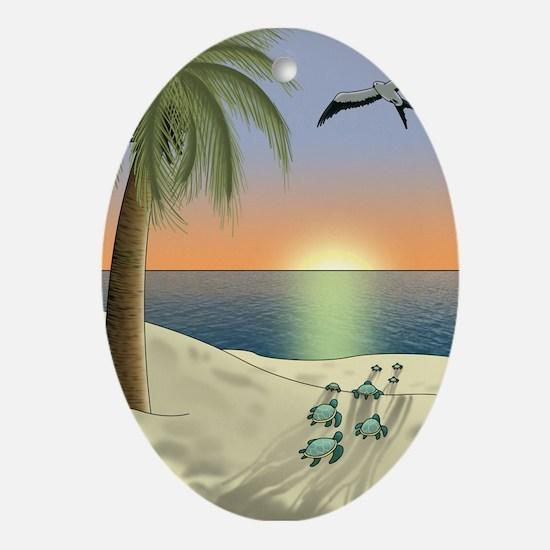 Sunset Beach Ornament (Oval)