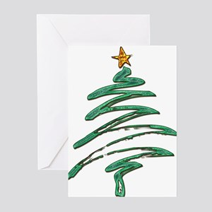 Swished Xmas Tree Logo copy Greeting Cards