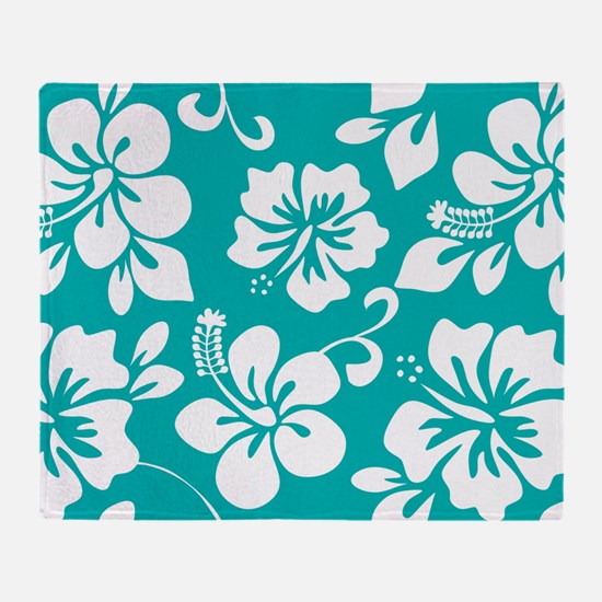 Turquoise Hawaiian Hibiscus Throw Blanket