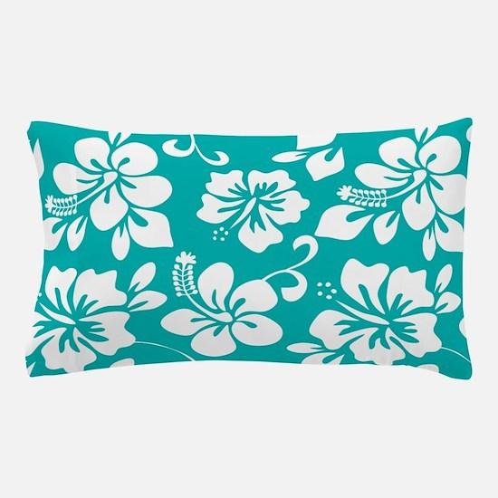 Turquoise Hawaiian Hibiscus Pillow Case